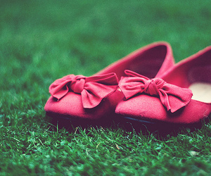 shoes, pink, and grass image