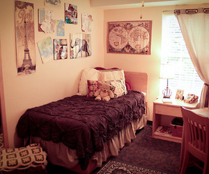 bed, bedroom, and dorm image