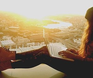 girl, laptop, and sunset image