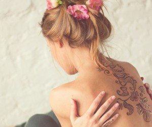 flower, tattoo, and henna image