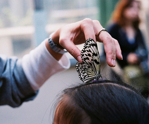butterfly, vintage, and girl image