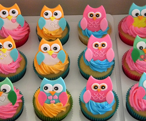cupcake, muffin, and owl image
