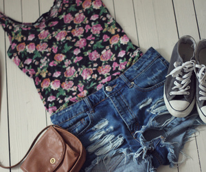 converse, flowers, and outfit image