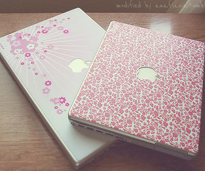 apple, pink, and laptop image