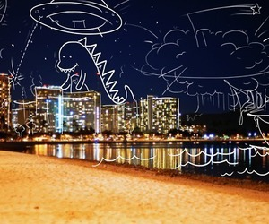 city, dinosaur, and light image