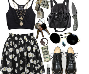 outfit, grunge, and black image