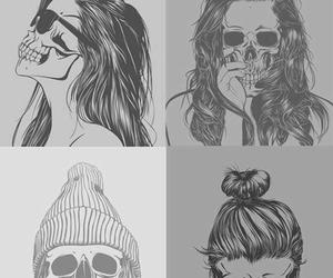 girl, skull, and cool image