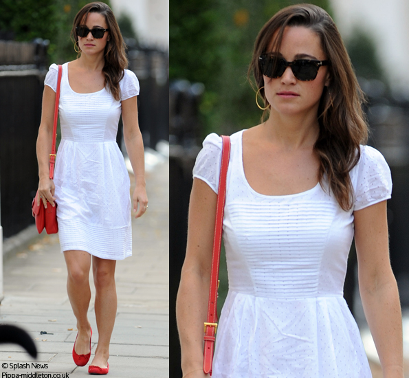 Pippa Middleton White Dress Red Shoes And Bag Scarf Desi