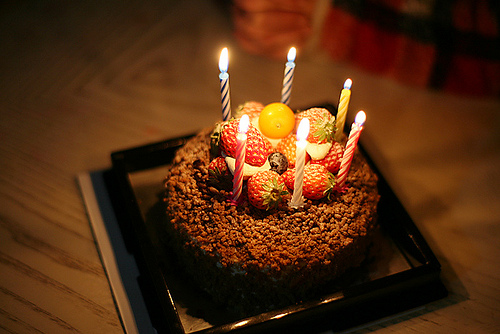 cake, candle, and strawberry image