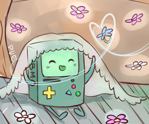 bmo, adventure time, and flowers image