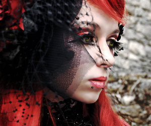 red hair, girl, and goth image