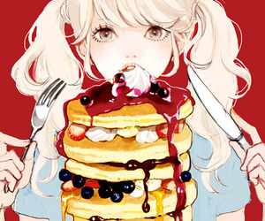 anime, pancakes, and food image