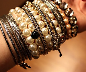 bracelet, hand, and pearls image