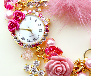 pink, watch, and clock image