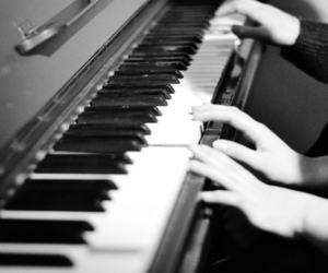 black and white, music, and piano image