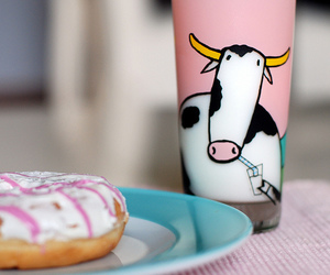 milk, cow, and donuts image