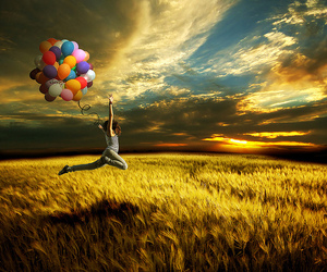 balloons, sky, and jump image