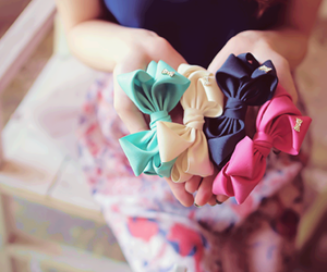 bow, pink, and blue image