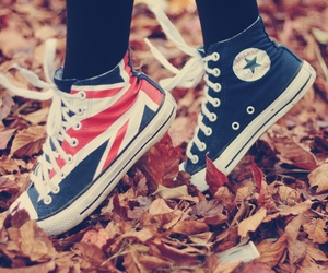 british flag, converse, and autumn leaves image