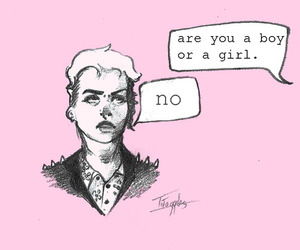 boy girl, question, and girl image