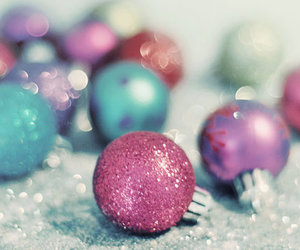 christmas, glitter, and pink image