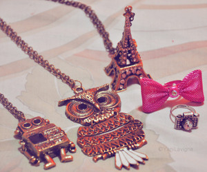 owl, girl, and necklace image