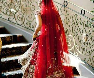 bride, red, and india image