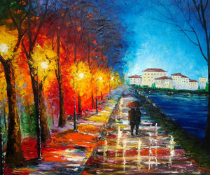 contemporary art, love couple, and Oil Painting image
