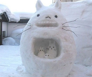 totoro, snow, and snowman image