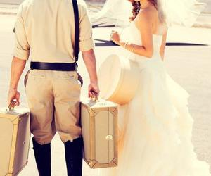 army, bride, and luggage image