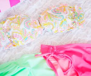 bikini, pink, and fashion image
