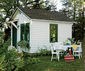 cabin, trees, and green image