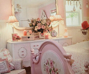 bedroom, pink, and decor image