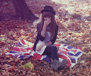 girl, flag, and hat image