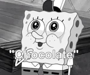 chocolate, spongebob, and black and white image