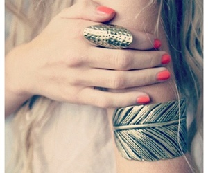 nails, blonde, and ring image