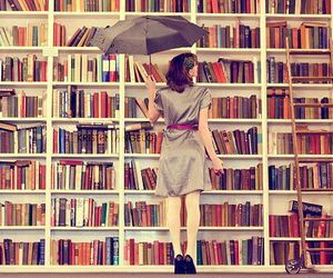 book, umbrella, and library image