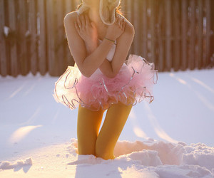 snow, girl, and pink image