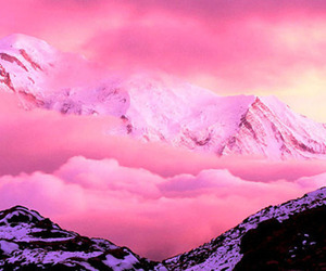 pink, mountains, and clouds image