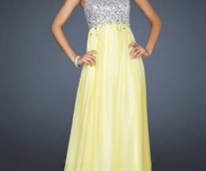 prom dresses, yellow, and la femme 17058 image