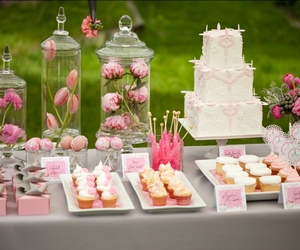 pink, flowers, and dessert image