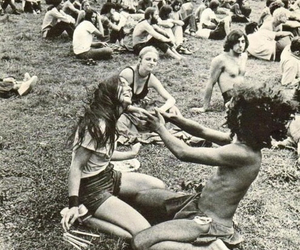hippie, woodstock, and black and white image