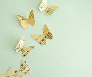 butterfly, music, and notes image