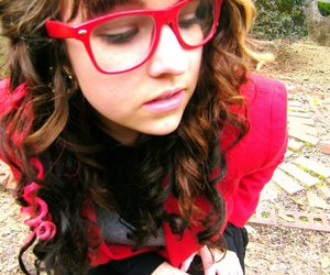 curly, glasses, and girl image
