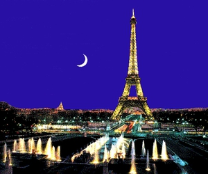 paris, moon, and eiffel tower image