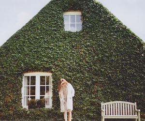 girl, house, and green image