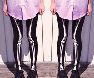 pastel goth, creepers, and skeleton image