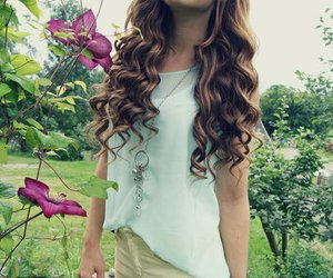 flowers, hair, and curls image