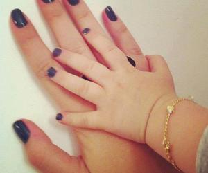 baby, nails, and mom image
