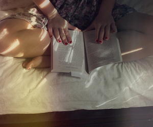 bed, red nails, and book image